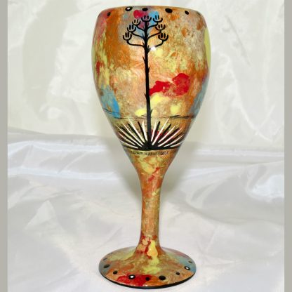 Mana Pottery wine glass featuring bear and desert landscape on reverse.