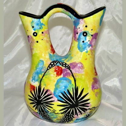 Mana Pottery Wedding Vase featuring kissing hummingbirds with desert landscape on reverse.