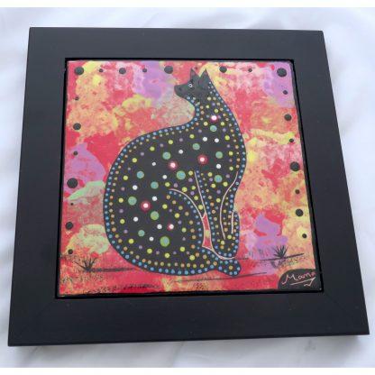 "Mana Pottery black framed 6"" tile featuring cat on crimson."
