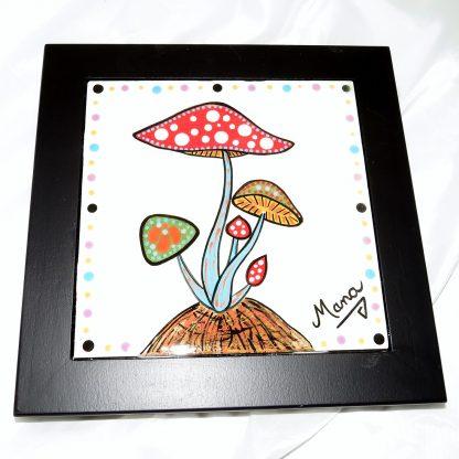 "Mana Pottery black framed 6"" tile featuring mushrooms."