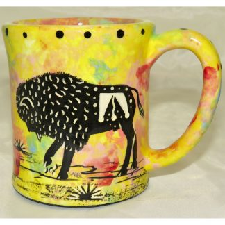 Mana Pottery emug with bison and desert landscape on bright yellow background.