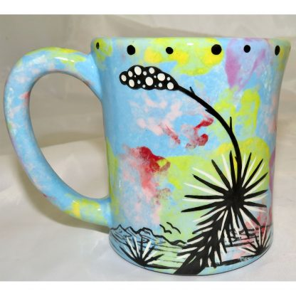 Mana Pottery e-mug featuring hawk in flight and desert landscape on reverse sides, on turquoise blue background.