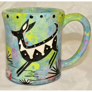 Mana Pottery e-mug featuring jumping deer and desert landscape on reverse sides, on turquoise blue background.