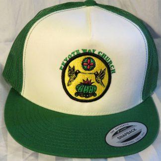 Peyote Way Church cap featuring Peyote and Hummingbird on green and white.