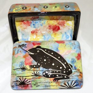 Mana Pottery rectangular ceramic box with toad in desert landscape on confetti background with a dusting of chocolate.