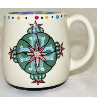 Mana Pottery country cup featuring four directions Peyote and desert vegetation on reverse sides.