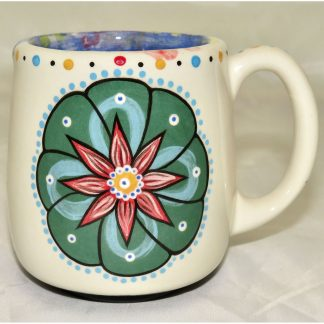 Mana Pottery country cup featuring Peyote and desert vegetation on reverse sides.