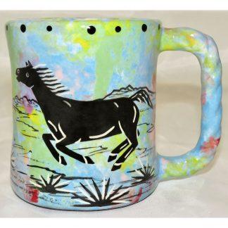 Mana Pottery rope mug featuring horse and desert landscape on reverse sides, on turquoise blue background.