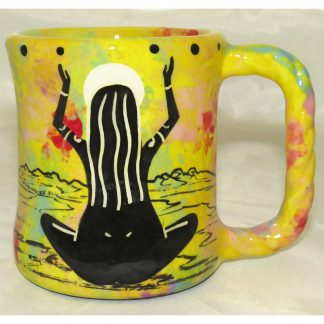 Mana Pottery rope mug featuring praying woman and desert landscape on reverse sides, on bright yellow background.