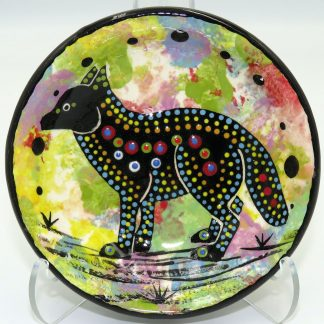 Mana Pottery teabag holder featuring fox on confetti-green
