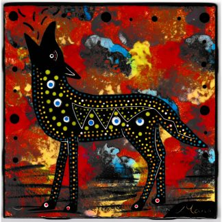 Mana Pottery 6 inch tile featuring coyote on crimson