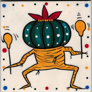 Mana Pottery 6 inch tile featuring Dancing Peyote..