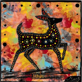 Mana Pottery 6 inch tile featuring deer on sunset colors