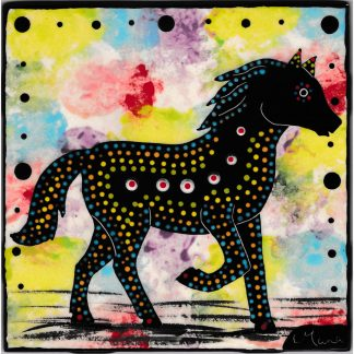 Mana Pottery 6 inch tile featuring horse on confetti background