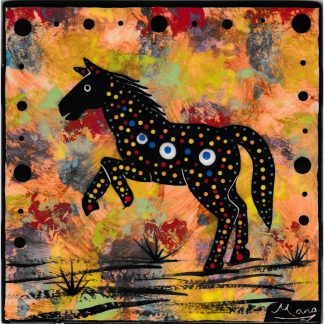 Mana Pottery 6 inch tile featuring prancing horse on dusky background