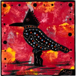 Mana Pottery 6 inch tile featuring kingfisher on crimson background