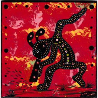 Mana Pottery 6 inch tile featuring kokopelli on crimson background