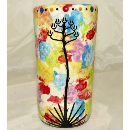 Mana Pottery tumbler featuring Dancing Peyote with desert landscape on reverse sides.