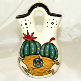 Mana Pottery Wedding Vase featuring peyote couplet with desert landscape on reverse.